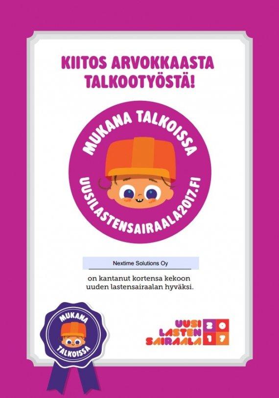 Artikkelikuva: Uudelle Lasten Sairaalalle lahjoitus